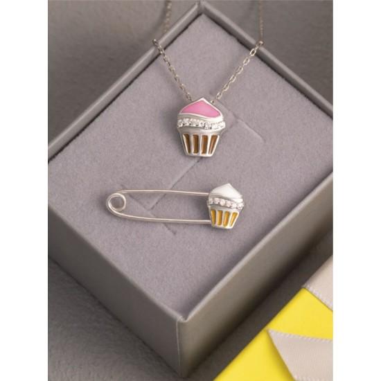 Комплект серебряный с эмалью Пирожное ЛК-0180ер