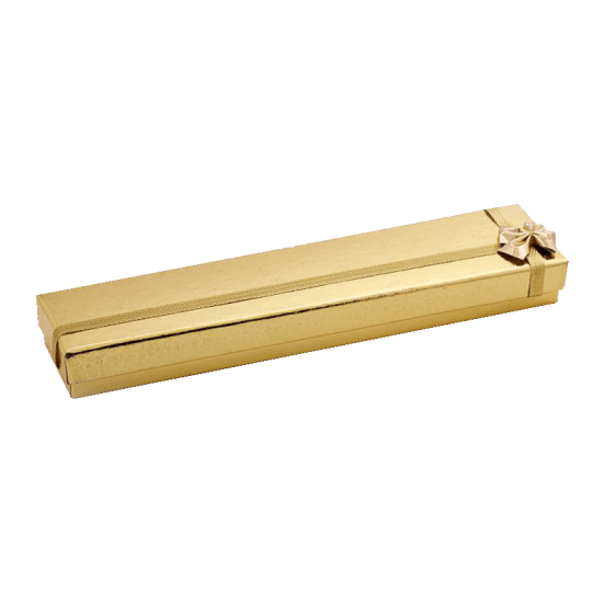 Футляр / упаковка ювелирных изделий длинная золотая с золотым бантом FK-004 G