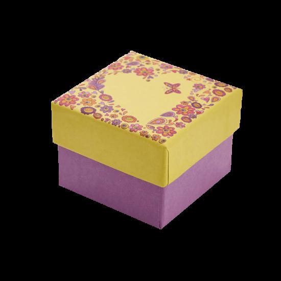 Футляр / упаковка ювелирных изделий романтическое Сердце желтое FK-016