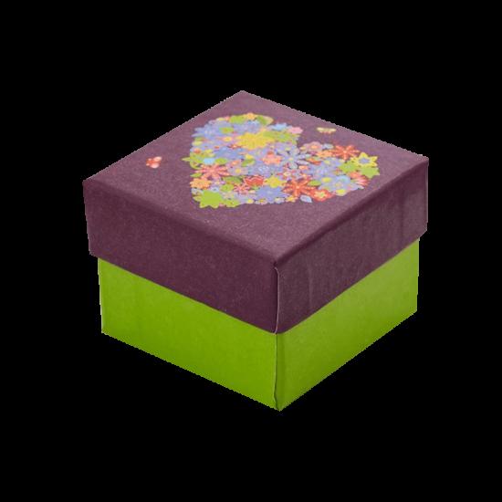Футляр / упаковка ювелирных изделий романтическое Сердце с цветами FK-017