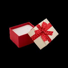 Футляр / упаковка ювелирных изделий бантик в белый горошек