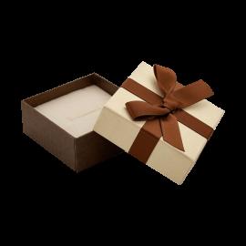Футляр / упаковка ювелірних виробів квадрат бантик коричневий