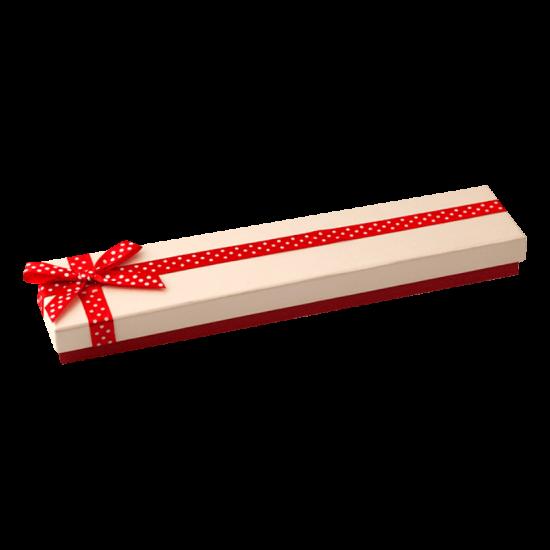 Футляр / упаковка ювелірних виробів довга бантик в білий горошок FK-037