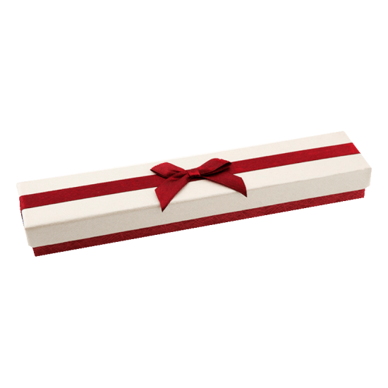 Футляр / упаковка ювелирных изделий длинная бантик бордовый FK-039
