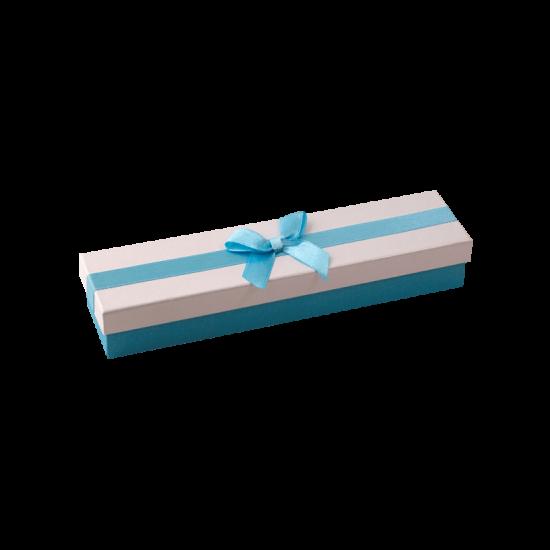 Футляр / упаковка ювелирных изделий длинная бантик голубой FK-041