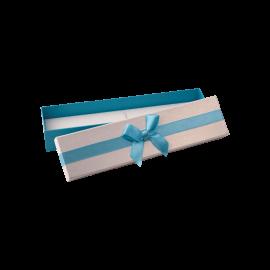Футляр / упаковка ювелирных изделий длинная бантик голубой