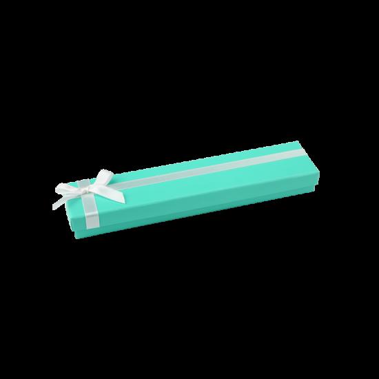 Футляр / упаковка ювелирных изделий длинная бантик белый FK-045