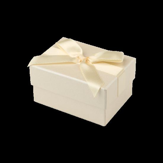 Футляр / упаковка ювелирных изделий бантик кремовая для обручальных колец FK-048