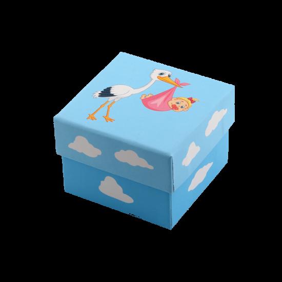 Футляр / упаковка ювелирных изделий Аист с малышом для девочки FK-050