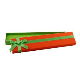 Футляр / упаковка ювелирных изделий длинная бантик зеленый