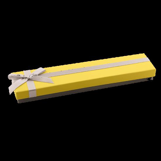 Футляр / упаковка ювелирных изделий модерн длинная бантик желтая FK-070