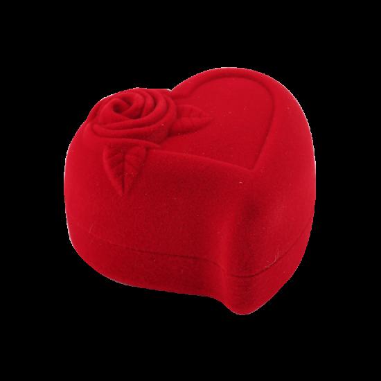Футляр / упаковка ювелирных изделий бархат сердечко с розой красная FK-084