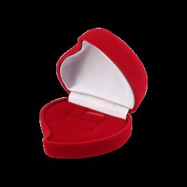 Футляр / упаковка ювелирных изделий бархат сердечко с розой красная