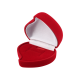 Футляр / упаковка ювелирных изделий бархат сердечко с розой красная FK-082