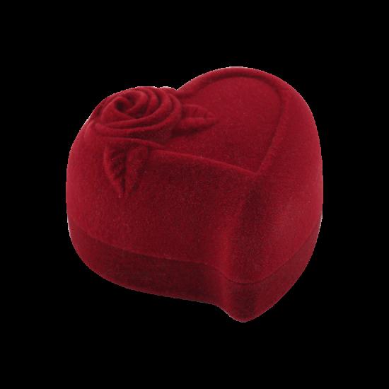Футляр / упаковка ювелирных изделий бархат сердечко с розой бордовая FK-083