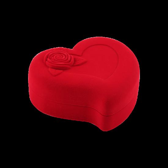 Футляр / упаковка ювелирных изделий бархат сердечко с розой красная FK-086