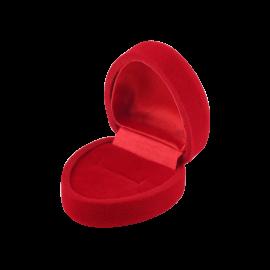Футляр / упаковка ювелирных изделий бархат сердечко красная
