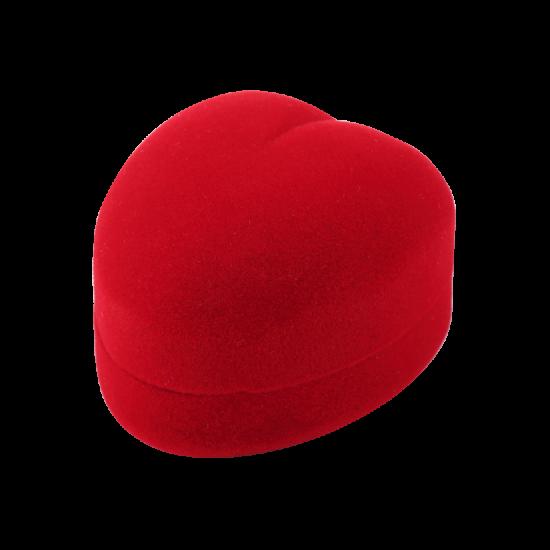 Футляр / упаковка ювелирных изделий бархат сердечко красная FK-087