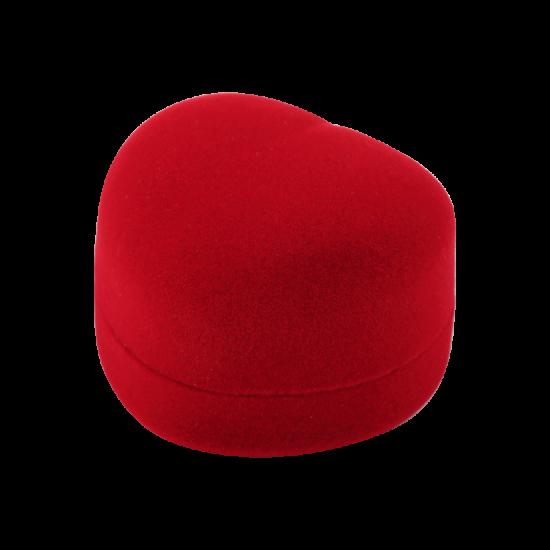 Футляр / упаковка ювелирных изделий бархат сердечко красная FK-090