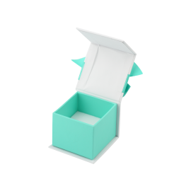 Футляр / упаковка ювелирных изделий классика квадрат голубая с магнитом