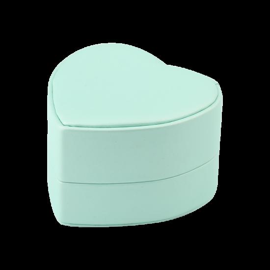 Футляр / упаковка ювелирных изделий премиум Сердечко нежно зеленое FK-137
