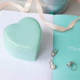 Футляр / упаковка ювелирных изделий премиум Сердечко нежно зеленое