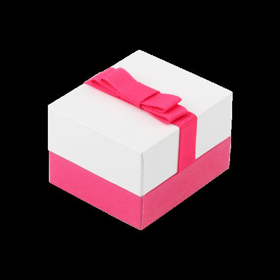 Футляр / упаковка ювелирных изделий классика квадрат бело-розовая FK-142