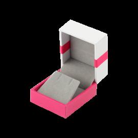 Футляр / упаковка ювелирных изделий классика квадрат бело-розовая
