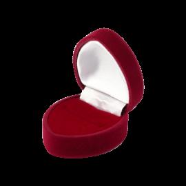 Футляр / упаковка ювелирных изделий бархат сердечко бордовая
