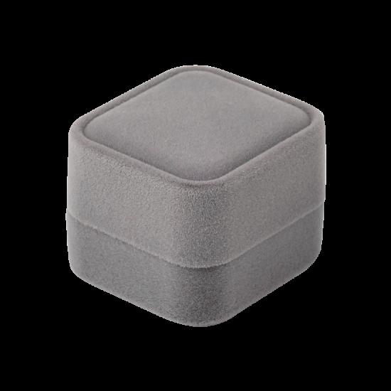 Футляр / упаковка ювелирных изделий бархат квадрат серая FK-157