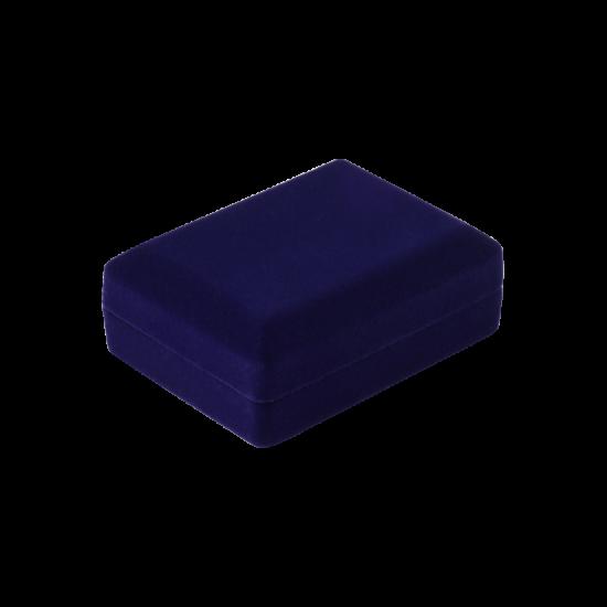 Футляр / упаковка ювелирных изделий бархат прямоугольник темно-синяя FK-176