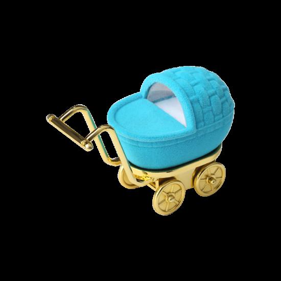 Футляр / упаковка ювелирных изделий детская Каляска голубая FK-177