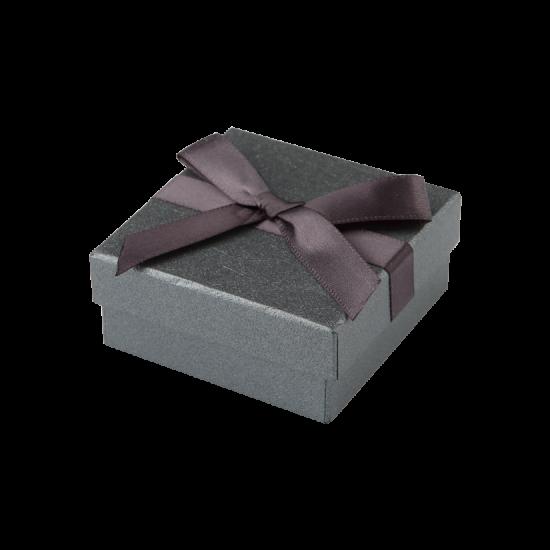 Футляр / упаковка ювелирных изделий черная с черным бантом FK-179