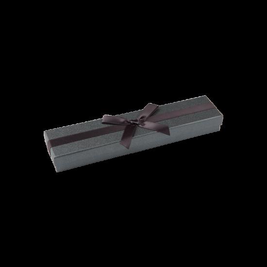 Футляр / упаковка ювелирных изделий длинная черная с черным бантом FK-180