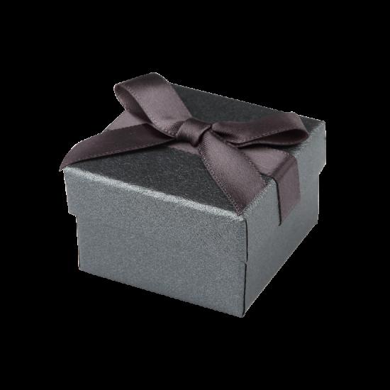 Футляр / упаковка ювелирных изделий черная с черным бантом FK-181
