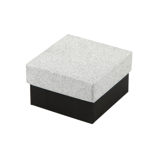 Футляр / упаковка ювелирных изделий черная с серебром FK-184