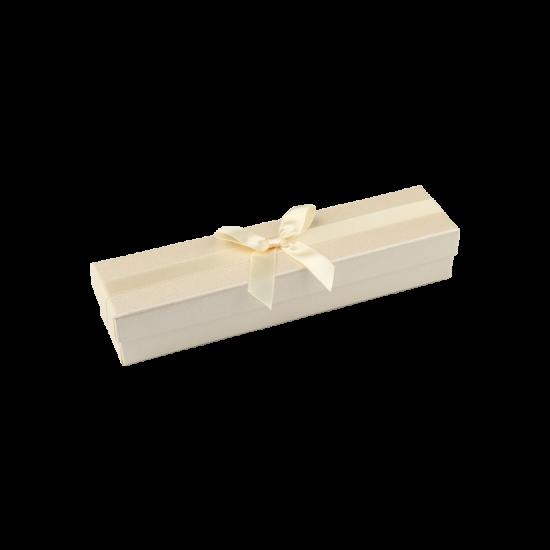 Футляр / упаковка ювелирных изделий кремовая с кремовым бантом для ложки FK-201