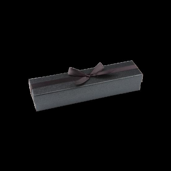 Футляр / упаковка ювелирных изделий черная с черным бантом для ложки FK-202
