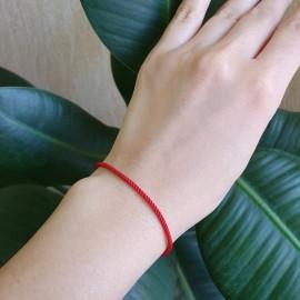 Браслет синтетичний зі срібною застібкою червоний