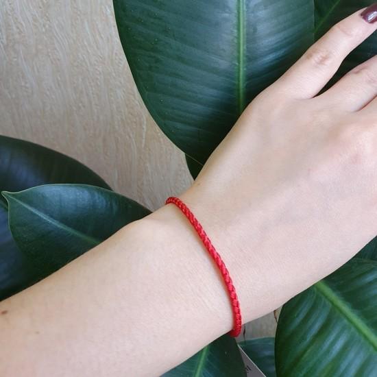 Браслет синтетический с серебряной застежкой красный КС-0425