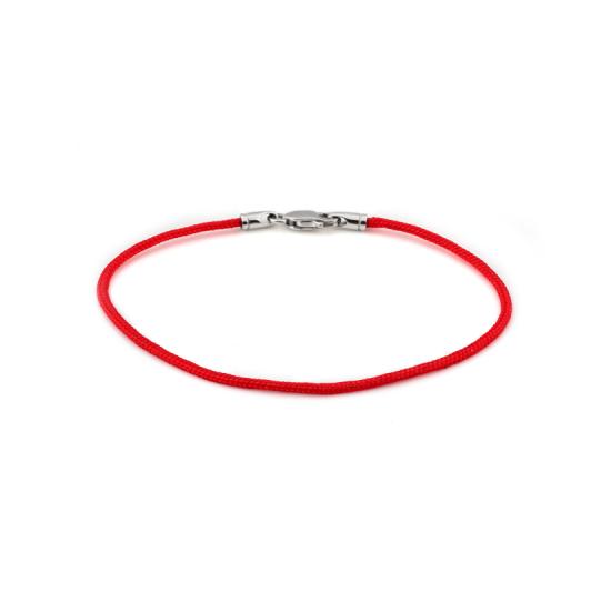 Браслет синтетический с серебряной застежкой красный тоненький КС-0615р