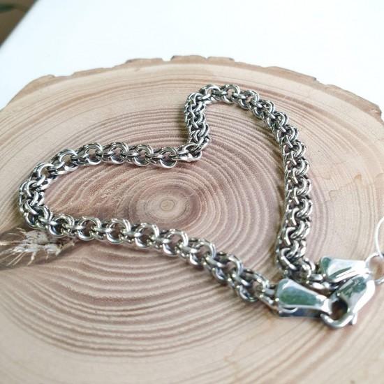 Браслет серебряный цепочка плетение Бисмарк ЛБ-008