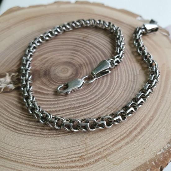 Браслет серебряный цепочка плетение Рамзес ЛР-007