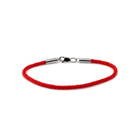 Браслет синтетический с серебряной застежкой красный тоненький КС-0225рБ