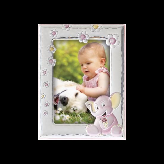 Рамка из серебра для девочки Слоненок розовая MB/121-R
