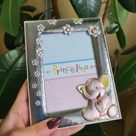Рамка из серебра для девочки Слоненок розовая