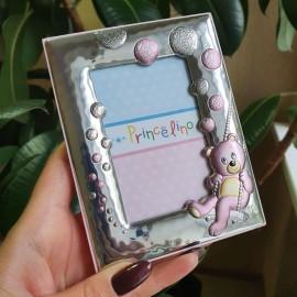 Рамка из серебра для девочки Мишка розовая