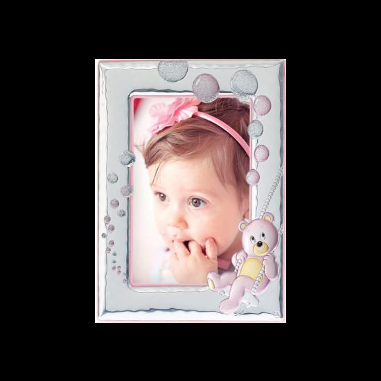 Рамка из серебра для девочки Мишка розовая MB/122-R