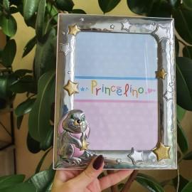 Рамка из серебра для девочки Зайчик розовая