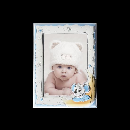 Рамка из серебра для мальчика Мышка голубая MB/126-C